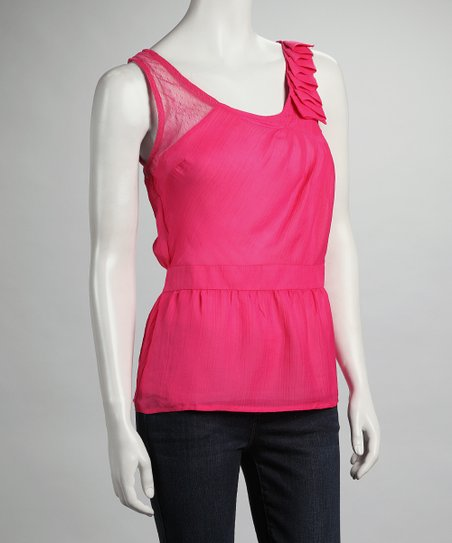 Fuchsia Ruffle Shoulder Top