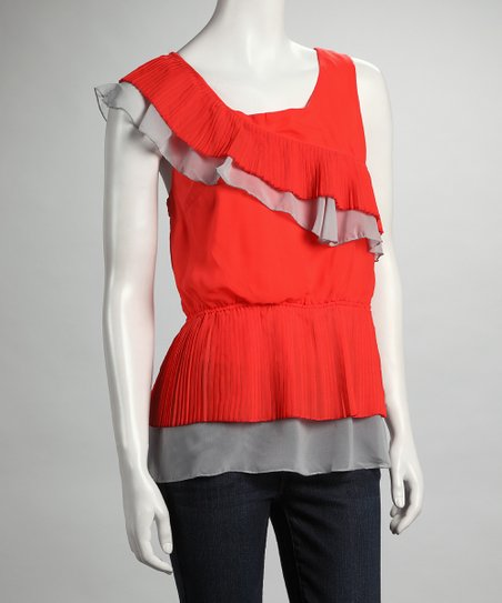 Orange Ruffle Tank