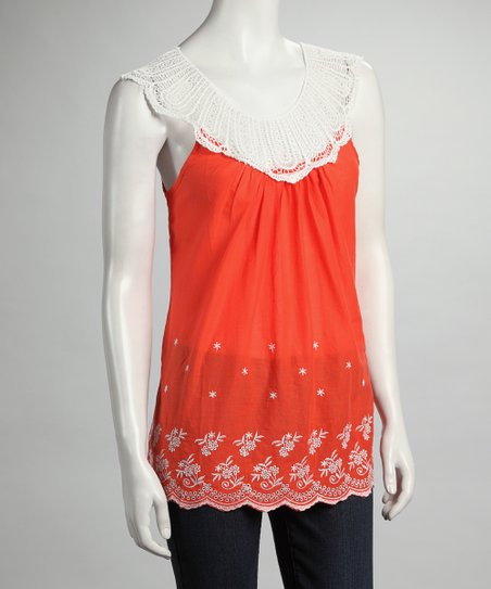 Orange Lace Embroidered Yoke-Neck Top