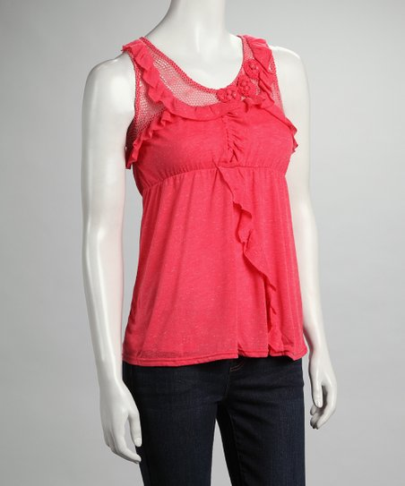 Coral Ruffle Mesh Tank