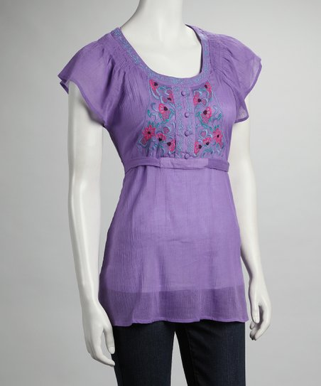 Purple Flower Cap-Sleeve Top