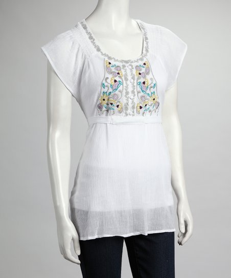 White Flower Cap-Sleeve Top