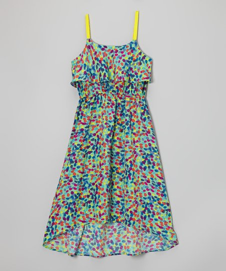 Blue & Yellow Jelly Bean Frill Dress