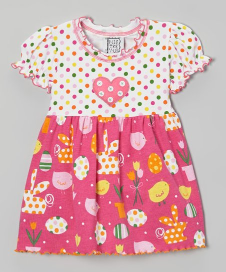 Pink Polka Dot Bunny Lettuce Edge Top - Toddler & Girls