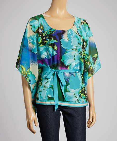 Blue Vibrant Adventure Cape-Sleeve Top