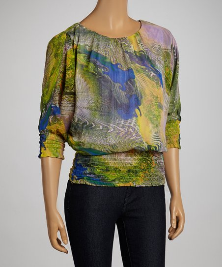 Green & Blue Optic Swirl Cape-Sleeve Top