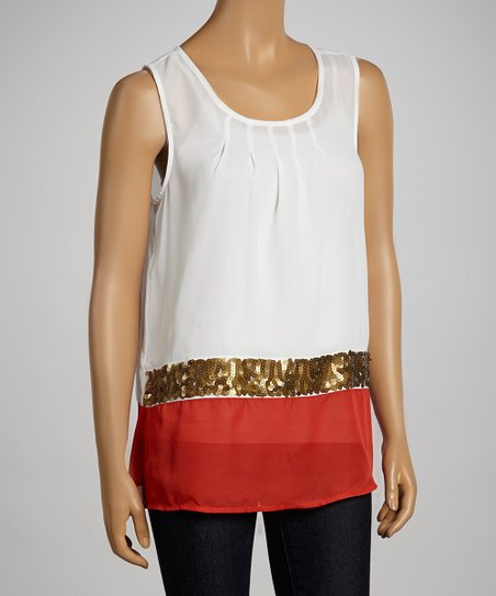 White & Coral Color Block Sequin Tank