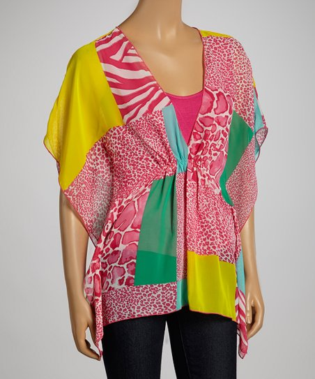 Pink & Yellow Wild Patch Cape-Sleeve Top