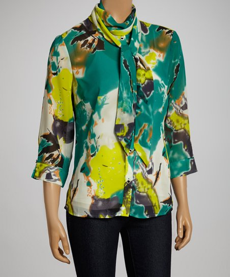 Teal & Lime Abstract Floral Tie-Front Button-Up Top