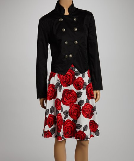 Black & Red Floral Skirt & Military Jacket