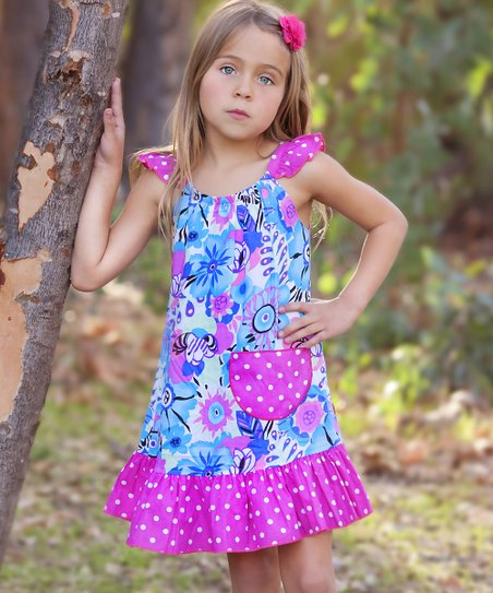 Hot Pink Wild Floral Angel-Sleeve Dress - Infant, Toddler & Girls