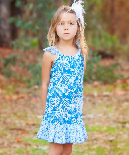 Turquoise Hawaiian Angel-Sleeve Dress - Infant, Toddler & Girls