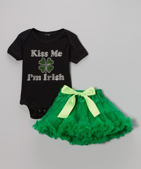 Black 'Kiss Me I'm Irish' Bodysuit & Emerald Pettiskirt - Infant