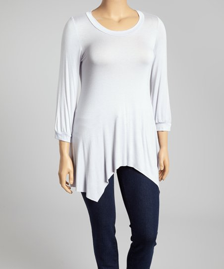 Light Blue Scoop Neck Sidetail Top - Plus