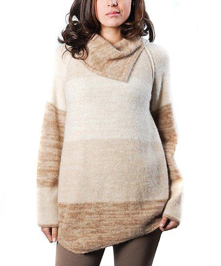 Brown Sugar Locarno Alpaca Fold-Over Neck Sweater