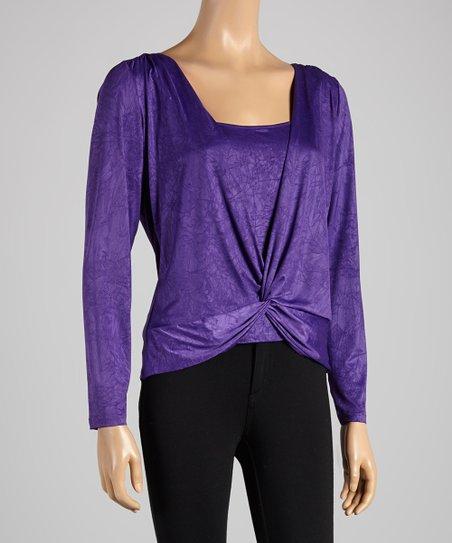 Purple Drape Hem Top