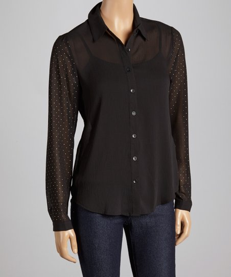 Black Shimmer-Sleeve Button-Up - Women