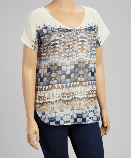 Navy & White Mosaic Studded Top - Women & Plus