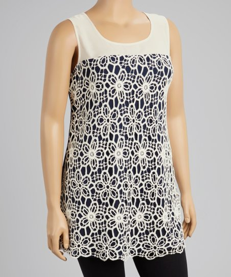 Navy & White Tunic - Women & Plus