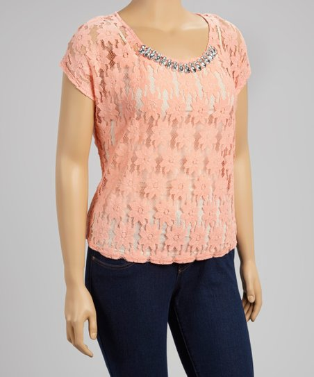 Neon Peach Beaded Lace Top - Plus