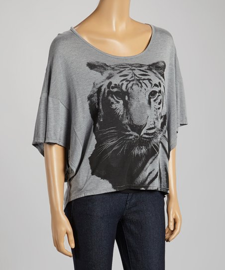 Gray Tiger Cape-Sleeve Top - Women