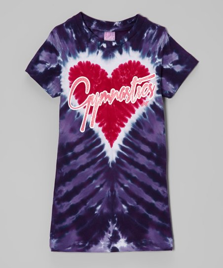 Purple 'Gymnastics' Heart Tie-Dye Tee – Girls