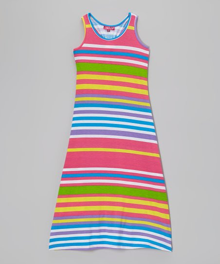 Sizzle Pink & Stark White Stripe Maxi Dress - Girls