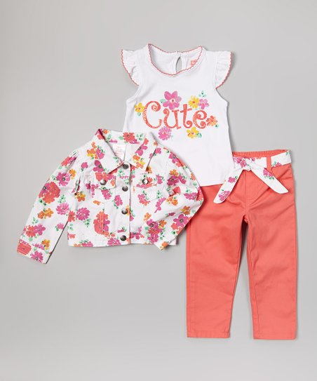 Orange & Pink Floral Jacket Set - Infant, Toddler & Girls
