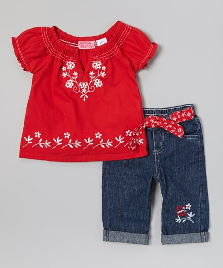 Red Floral Peasant Top & Jeans - Infant & Toddler