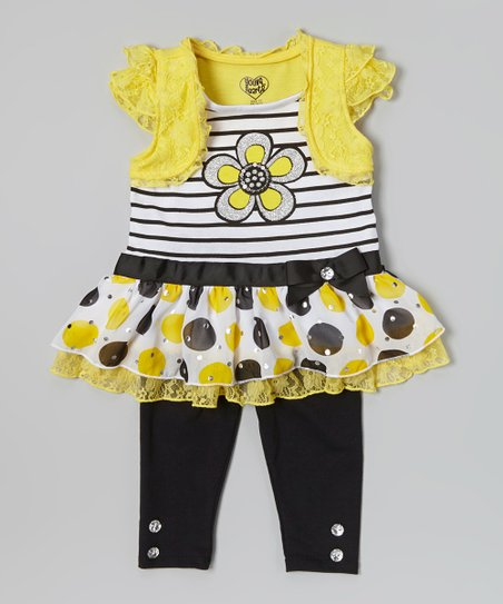 Yellow Flower Skirted Tunic & Leggings - Infant, Toddler & Girls