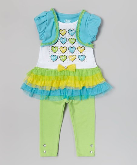 Blue Heart Skirted Tunic & Leggings - Infant, Toddler & Girls