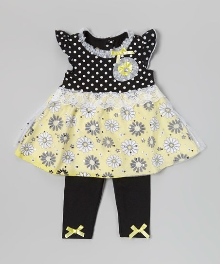 Black & Yellow Polka Dot Tunic & Leggings - Infant & Toddler