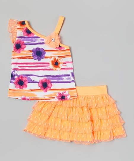 Orange Floral Asymmetrical Top & Ruffle Skirt - Infant & Toddler