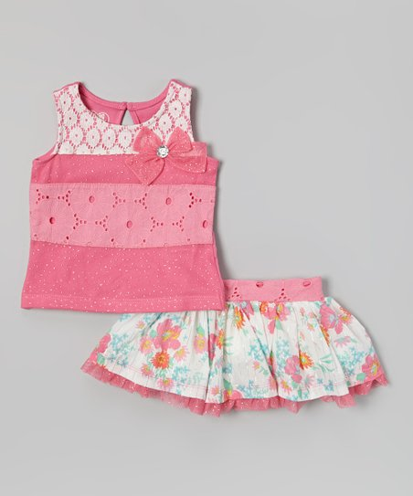 Pink Lace Tank & Floral Skirt - Infant