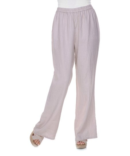 Beige Flared Linen Pants - Women & Plus