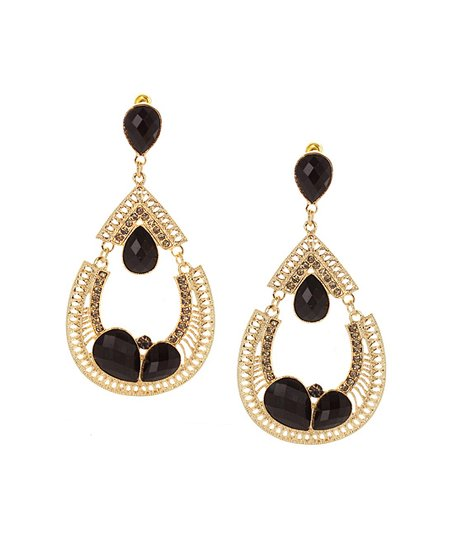 Gold & Black Cutout Teardrop Earrings