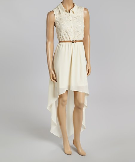 Cream Eyelet Hi-Low Dress