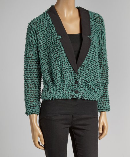Mint Popcorn Blazer Sweater