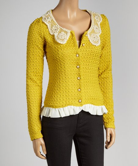 Mustard Pearly Lace Cardigan