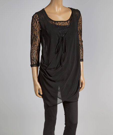 Black Lace Drape Surplice Top