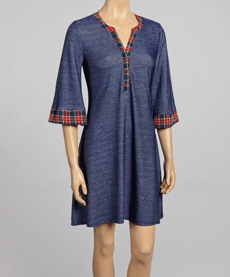 Blue & Red Plaid-Trim Dress