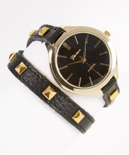 Black & Gold Pyramid Stud Leather Wrap Watch