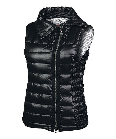 Black Jaime Asymmetrical Zip-Up Puffer Vest - Women