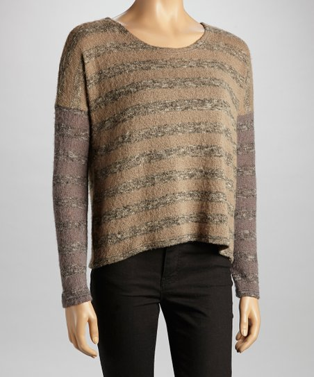 Gray & Taupe Stripe Sweater