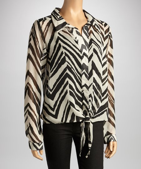 Black & White Zigzag Front Tie Collar Top