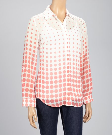 Orange & Ivory Polka Dot Button-Up