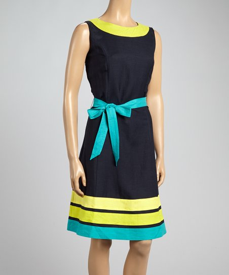 All Night Lime Abstract Belted Surplice Dress