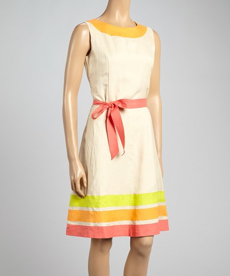 Natural & Cool Tangerine Tie-Waist Dress