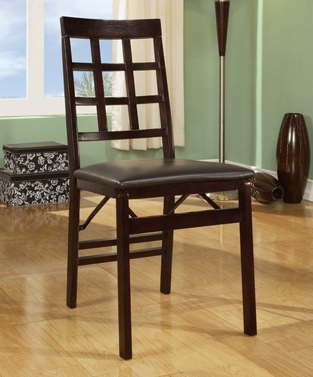 Espresso Triena Window Pane Folding Chair