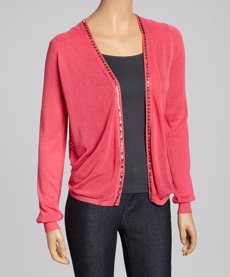 Pink Crochet-Back Open Cardigan - Women